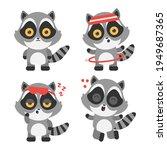 cute raccoons vector cartoon...   Shutterstock .eps vector #1949687365