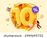 mega sale. 10 percent discount. ... | Shutterstock .eps vector #1949695732