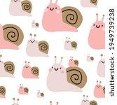 cute cartoon snail    vector... | Shutterstock .eps vector #1949739238