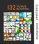 Mega collection of wave abstract backgrounds with copy space. For business tech design templates, web design, presentations - stock vector