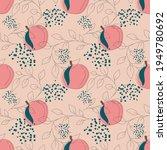 pink peach fruit seamless...   Shutterstock .eps vector #1949780692