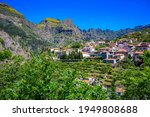 View of Curral das Freiras village in the Nuns Valley in beautiful mountain scenery, municipality of Câmara de Lobos, Madeira island, Portugal.
