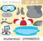 funny cat wearing diving glass... | Shutterstock .eps vector #1949880922