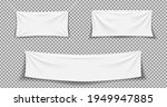 fabric banner. white textile... | Shutterstock .eps vector #1949947885