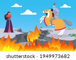 fairy tale of rescuing princess ...   Shutterstock .eps vector #1949973682