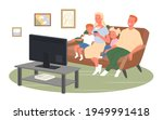 happy family watch tv or movies ... | Shutterstock .eps vector #1949991418