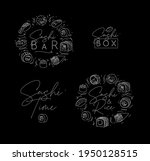 sushi labels in line style...   Shutterstock .eps vector #1950128515