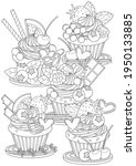 cute and sweet cupcakes vector... | Shutterstock .eps vector #1950133885