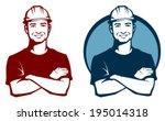 line illustration of a smiling... | Shutterstock .eps vector #195014318
