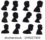silhouette of men head  face in ... | Shutterstock .eps vector #195027305