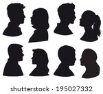 silhouette  ouple in love  kiss ... | Shutterstock .eps vector #195027332