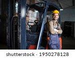 Portrait Of Warehouse Forklift...