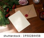 envelope back side with red wax ... | Shutterstock . vector #1950284458