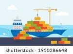 industrial sea port cargo...   Shutterstock .eps vector #1950286648