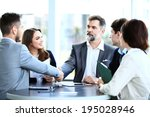 business people shaking hands ... | Shutterstock . vector #195028946
