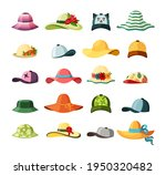 wide brimmed hats and caps set. ... | Shutterstock .eps vector #1950320482