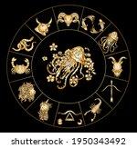 aquarius vector of astrology... | Shutterstock .eps vector #1950343492