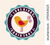 bird design over beige... | Shutterstock .eps vector #195043025