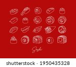 sushi types poster drawing in...   Shutterstock .eps vector #1950435328