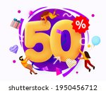 mega sale. 50 percent discount. ... | Shutterstock .eps vector #1950456712