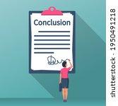 businesswoman writes conclusion ... | Shutterstock .eps vector #1950491218