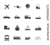 vehicle and transport icons  | Shutterstock .eps vector #195050672