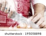 close up of cook hands cutting... | Shutterstock . vector #195058898