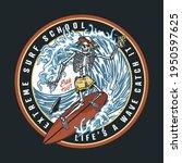 surf school vintage colorful... | Shutterstock .eps vector #1950597625