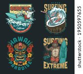 hawaii surfing vintage colorful ... | Shutterstock .eps vector #1950597655