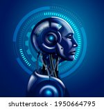 robot android heads vector... | Shutterstock .eps vector #1950664795