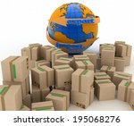 import and export arrow around... | Shutterstock . vector #195068276