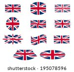 uk flag with different shapes ... | Shutterstock .eps vector #195078596