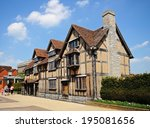 Small photo of STRATFORD-UPON-AVON, UK - MAY 18, 2014 - Front view of Shakespeare's Birthplace along Henley Street, Stratford-Upon-Avon, Warwickshire, England, United Kingdom, Western Europe, May 18, 2014.