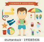 summer holiday character design ... | Shutterstock .eps vector #195085436