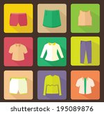 set of various clothes flat icon