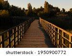Wooden Bridge Or Walkway Over A ...