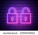 neon padlock. lock unlock.... | Shutterstock .eps vector #1950920002