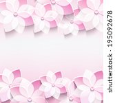 trendy abstract floral pink... | Shutterstock . vector #195092678