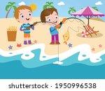 Boys Fishing At Beach Vector...