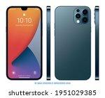 smartphone frameless blue color ... | Shutterstock .eps vector #1951029385