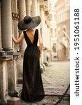 Fashion Woman Model In Hat Back ...