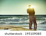 young family meets morning at... | Shutterstock . vector #195109085
