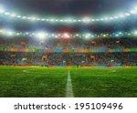 soccer ball on the field of... | Shutterstock . vector #195109496