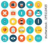 flat icons set of medical tools ... | Shutterstock .eps vector #195113435