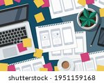 flat lay illustration of a busy ...