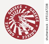 greece stamp. travel red rubber ... | Shutterstock .eps vector #1951167238