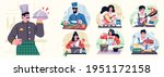 different people cooking in the ... | Shutterstock .eps vector #1951172158