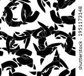 seamless monochrome pattern of... | Shutterstock .eps vector #1951173148