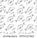 seamless pattern  fish dorado... | Shutterstock .eps vector #1951217662