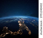 Amazing blue planet earth with night city lights from space. Italy at night and central european view from space